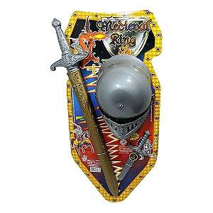 Brinquedo Kit Como Treinar Seu Dragão Medieval Com Espada e Capacete