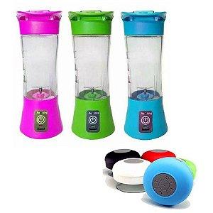 Kit Mini Liquidificador Fitness Portátil Recarregável Com Caixinha de Som Bluethooth Cores Sortida
