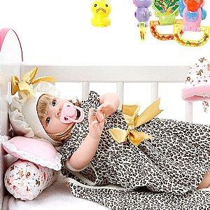 Boneca Bebe Reborn Graziela Marrom Bichinhos Cegonha Reborn Dolls Mais 22 Acessórios 53cm