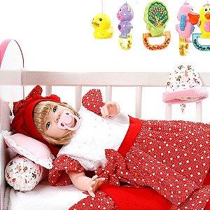 Boneca Bebe Reborn Balone Vermelho Cegonha Reborn Dolls Mais 22 Acessórios 53cm
