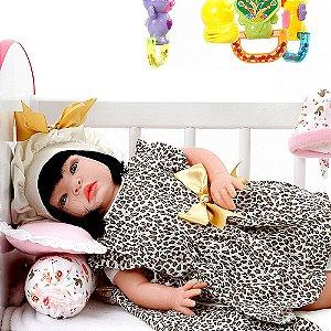 Boneca Bebe Reborn Graziela Marrom Bichinhos Cegonha Reborn Dolls Com 22 Acessórios 53cm