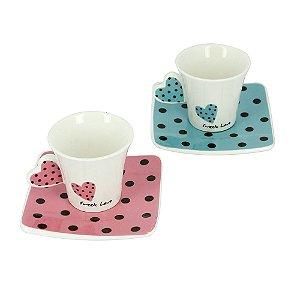 Jogo De Café Com 2 Canecas De Porcelana 90ml E Pires Sweet Love