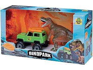 Brinquedo Dinopark Dinossauro E Jipe Com Bote Samba Toys