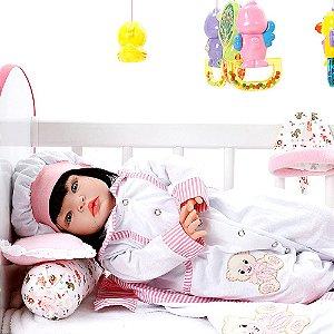 Boneca Bebe Reborn Ursa Charme Branco Cegonha Reborn Dolls Mais 22 Acessórios 53cm