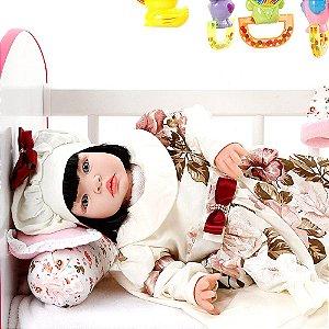 Boneca Bebe Reborn Grazi Creme Cegonha Reborn Dolls Mais 22 Acessórios 53cm
