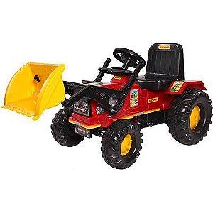 Brinquedo Trator Infantil Farmer Com Pá Vermelho - Biemme