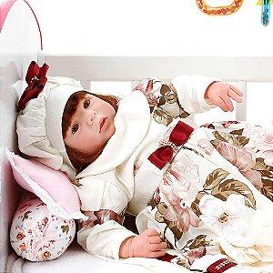 Boneca Bebe Reborn Eloise Grazi Creme Cegonha Reborn Dolls Mais 24 Acessórios 48cm