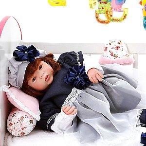 Boneca Bebe Reborn Eloise Louize Azul Marinho Cegonha Reborn Dolls Mais 24 Acessórios 48cm