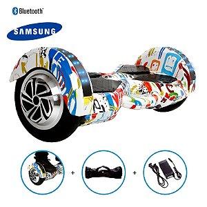 "Hoverboard 8"" Grafite  Hoverboard Bateria Samsung Bluetooth Smart Balance Com Bolsa"