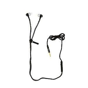 Fone De Ouvido Intra-auricular Tipo Zíper Com Microfone FON-10050 - Preto - Inova