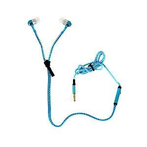 Fone De Ouvido Intra-auricular Tipo Zíper Com Microfone FON-10050 - Azul - Inova