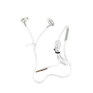 Fone De Ouvido Intra-auricular Tipo Zíper Com Microfone FON-10050 - Branco - Inova