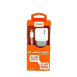 Carregador De Parede De Iphone Tipo Lightning Com 2 Saídas USB 2.4A Carga Rápida Branco KD-301A - Kaidi
