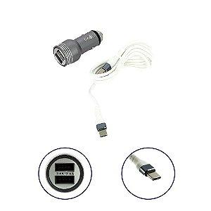 Carregador Para Carro Mega Rápido 3.4A Com 2 Entradas USB Com Cabo Tipo C Cinza CAR-G5115 - Inova