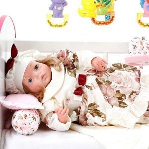 Boneca Bebe Reborn Yasmin Grazi Creme Cegonha Reborn Dolls Mais 24 Acessórios 48cm