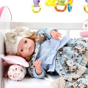 Boneca Bebe Reborn Yasmin Lavinia Azul Bebe Cegonha Reborn Dolls Mais 24 Acessórios 48cm