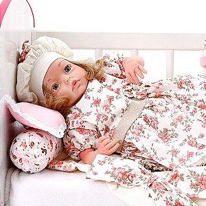 Boneca Bebe Reborn Yasmin Encanto Floral Rosa Cegonha Reborn Dolls Mais 24 Acessórios 48cm
