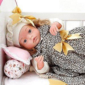 Boneca Bebe Reborn Yasmin Graziela Marrom Bichinhos Cegonha Reborn Dolls Mais 24 Acessórios 48cm