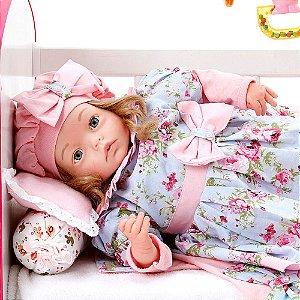 Boneca Bebe Reborn Yasmin Linda Flor Cegonha Reborn Dolls Mais 24 Acessórios 48cm