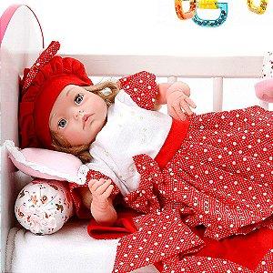 Boneca Bebe Reborn Yasmin Balone Vermelho Cegonha Reborn Dolls Mais 24 Acessórios 48cm