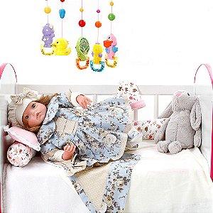 Boneca Bebe Reborn Yasmin Chloe Floral Cegonha Reborn Dolls Mais 24 Acessórios 48cm