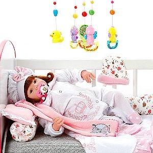 Boneca Bebe Reborn Eloise Princesa Rosa Poa Cegonha Reborn Dolls Mais 24 Acessórios 48cm