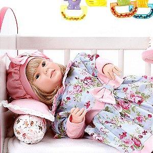 Boneca Bebe Reborn Diandra Linda Flor Cegonha Reborn Dolls Mais 24 Acessórios 50cm