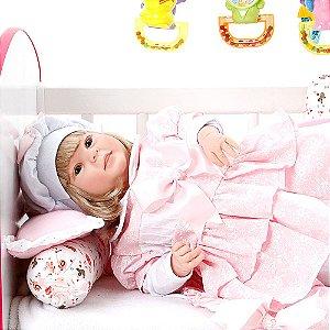 Boneca Bebe Reborn Diandra Monalisa Floral Cegonha Reborn Dolls Mais 24 Acessórios 50cm