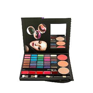 Kit Maquiagem Any Flor Cosméticos Paleta de Sombra Blush Pó Compacto e Batom