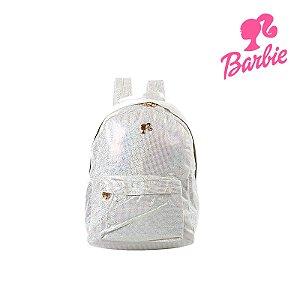 Mochila Barbie Infantil Escolar Super Brilhante Branca