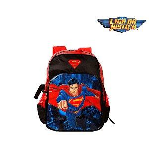 Mochila Escola Infantil Super Man Preta E Vermelha Heróis DC