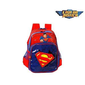 Mochila Escola Infantil Super Homem Azul E Vermelha Heróis DC