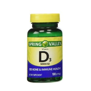 Vitamina D3 125mg 5000IU 100 Cápsula Em Gel