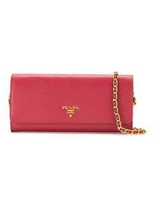 Bolsa Tiracolo De Couro Prada Pequena Rosa Choque Com Alça