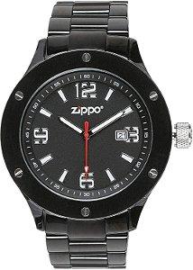 Relógio Analógico Zippo Preto Com Pulseira De Aço Inoxidável 47007-RG