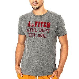 Camiseta Abercrombie Chumbo Estampada Manga Curta
