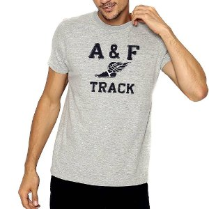 Camiseta Abercrombie Cinza Estampada com Manga Curta