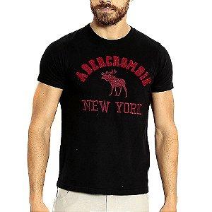 Camiseta Abercrombie Preto Estampada com Manga Curta
