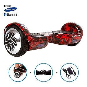 "Hoverboard 6,5"" Red Fire  HoverboardX USA Bateria Samsung Bluetooth Smart Balance Com Bolsa"