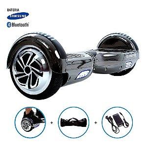 """Hoverboard 6,5"""" Cinza Cromado HoverboardX Bateria Samsung Bluetooth Smart Balance Com Bolsa"""