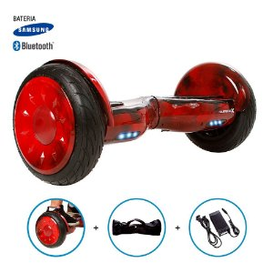"Hoverboard 10"" Red Fire Hoverboard Bateria Samsung Bluetooth Smart Balance Com Bolsa"