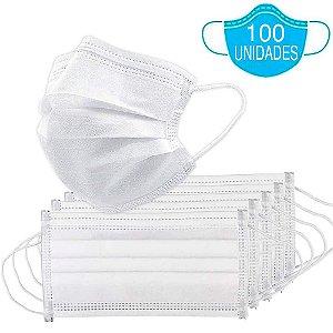 Kit 100 Máscara Descartável Importada MaskMedic Dupla Camada Qualidade E Confiabilidade Branca Com Clip Nasal