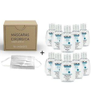 Kit 10 Álcool Gel Etílico Hidratado Higenizador De Mãos 70 INPM ArtGel 30 ml Com 50 Máscara Descartável Para Proteção