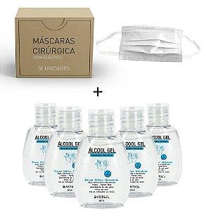 Kit 5 Álcool Gel Etílico Hidratado Higenizador De Mãos 70 INPM ArtGel 30 ml Com 50 Máscara Descartável Para Proteção