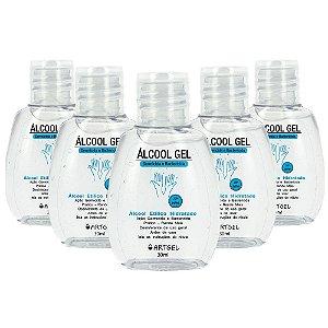 Kit Com 5 Álcool Em Gel 70 Inpm Para Limpar E Higienizar As Mãos 30ml ArtGel