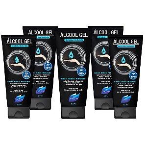 Kit 5 Álcool Gel Higienizador De Mãos Vie Luxe 70 INPM 50ml