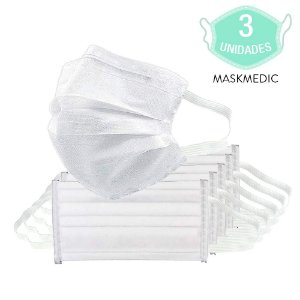 Pacote Com 3 Máscara Descartável Tripla Camada Máxima Proteção Nariz E Boca Com Elástico Clip Nasal MaskMedic