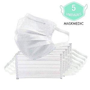 Pacote Com 5 Máscara Descartável Tripla Camada Branca Com Clip Nasal Máxima Proteção MaskMedic De Elástico