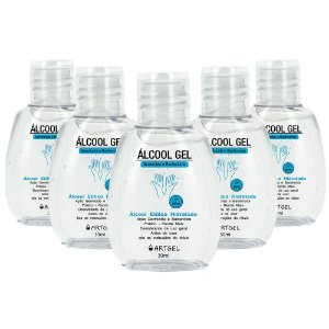 Kit 5 Álcool Gel Higienizador De Mãos ArtGel 70 INPM 30ml