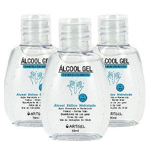 Kit Com 3 Álcool Em Gel 70 Inpm Para Limpar E Higienizar As Mãos 30ml ArtGel